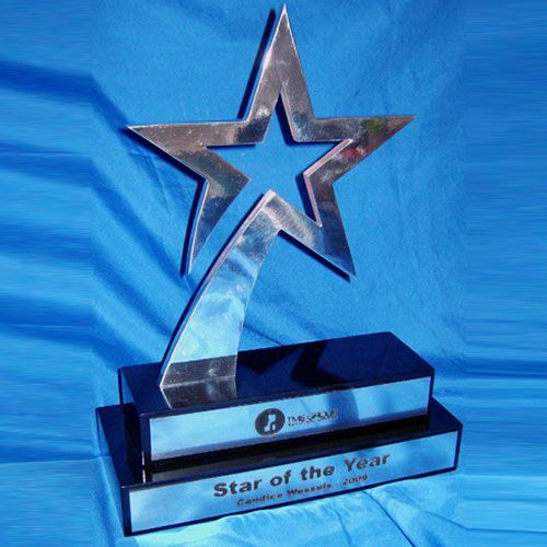 Metal Star Trophy on Two-tiered black lacquered wooden base with silver engraved romark. follow link or call 082 563 4098 for more info.