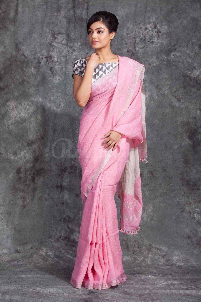 Handwoven Linen Saree With Silver Border