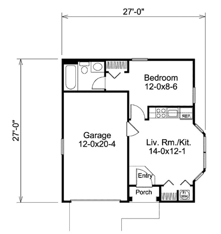 Traditional Style House Plan - 1 Beds 1 Baths 421 Sq/Ft Plan #57-397 Floor Plan - Main Floor Plan - Houseplans.com