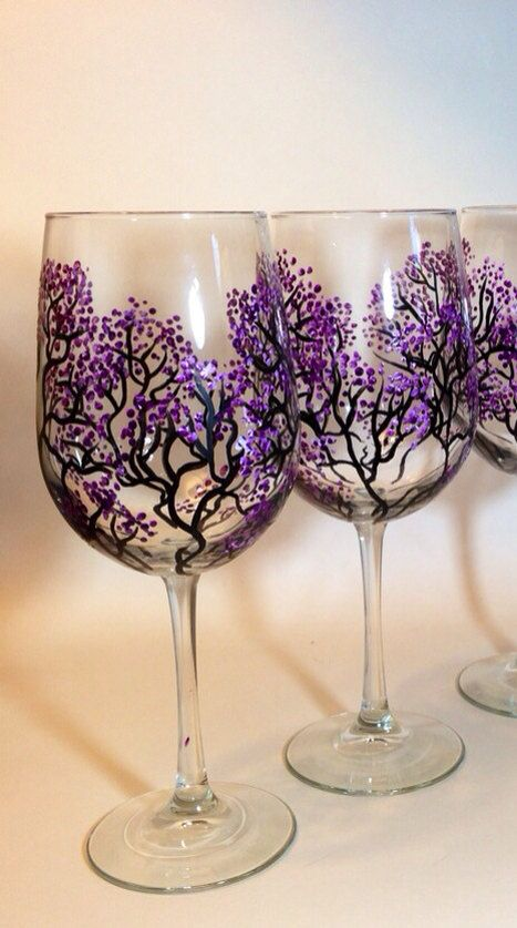 WOW Just beautiful Set of 2 Large Wine Glasses - Purple Cherry Blossom Hand Painted Wine Glasses, Purple