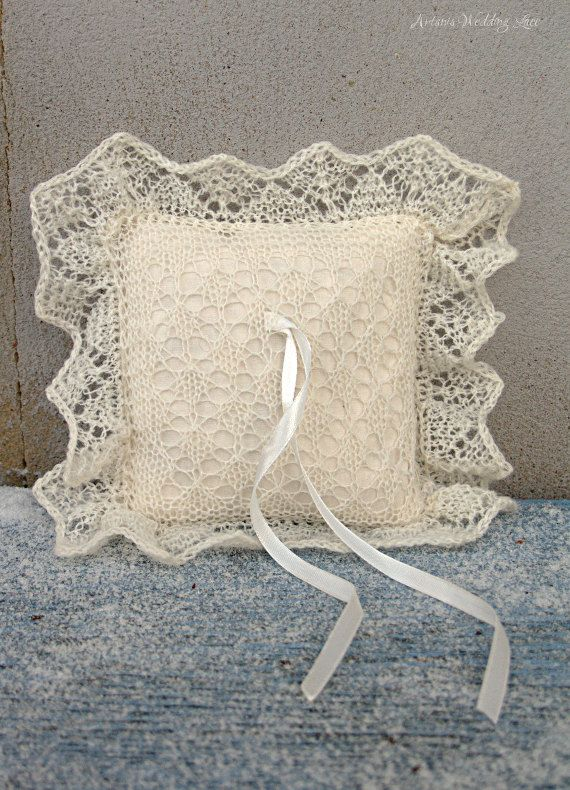 Lace Ring Bearer Pillow Hand-knitted by ArtanisWeddingLace
