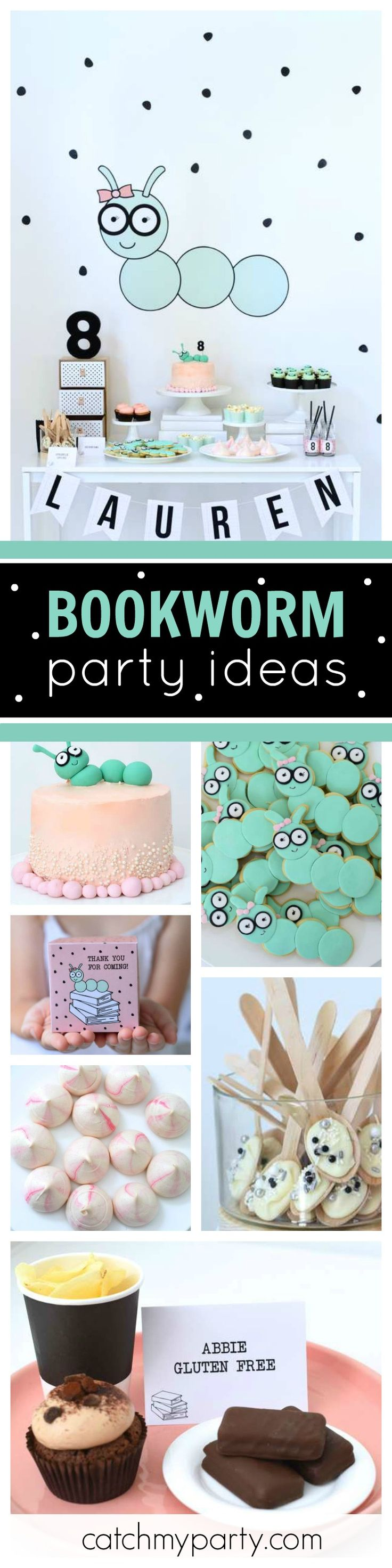 Take a look at this perfect party for bookworms. The simple designed dessert table and deserts are so cool! See more party ideas and share yours at CatchMyParty.com