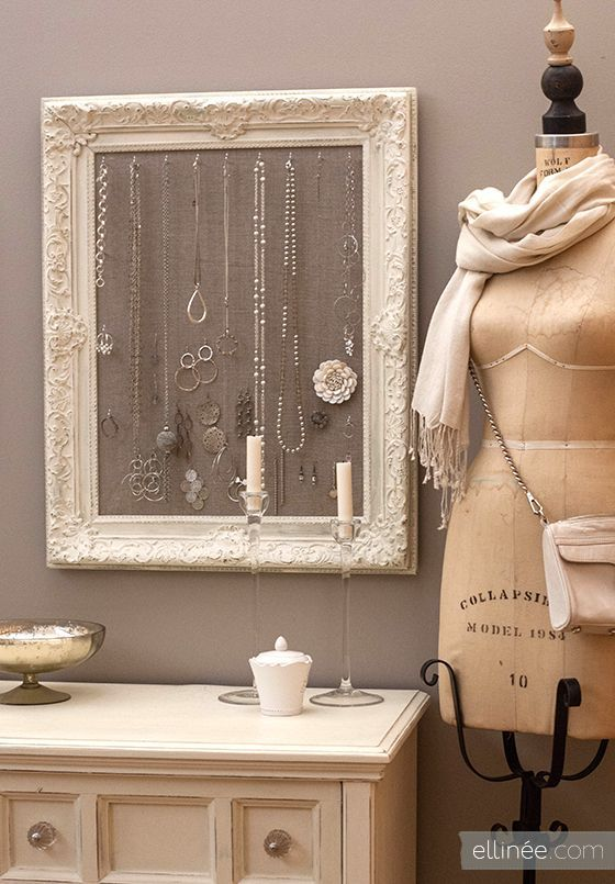 DIY Antique Frame Jewelry Holder  http://www.printfriendly.com pinned with Pinvolve - pinvolve.co