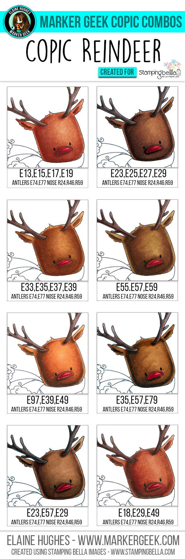 A quick look at Copic Earth tones and Copic reindeer colour combos for colouring Stamping Bella's cute Rudolph the Reindeer stamp images.