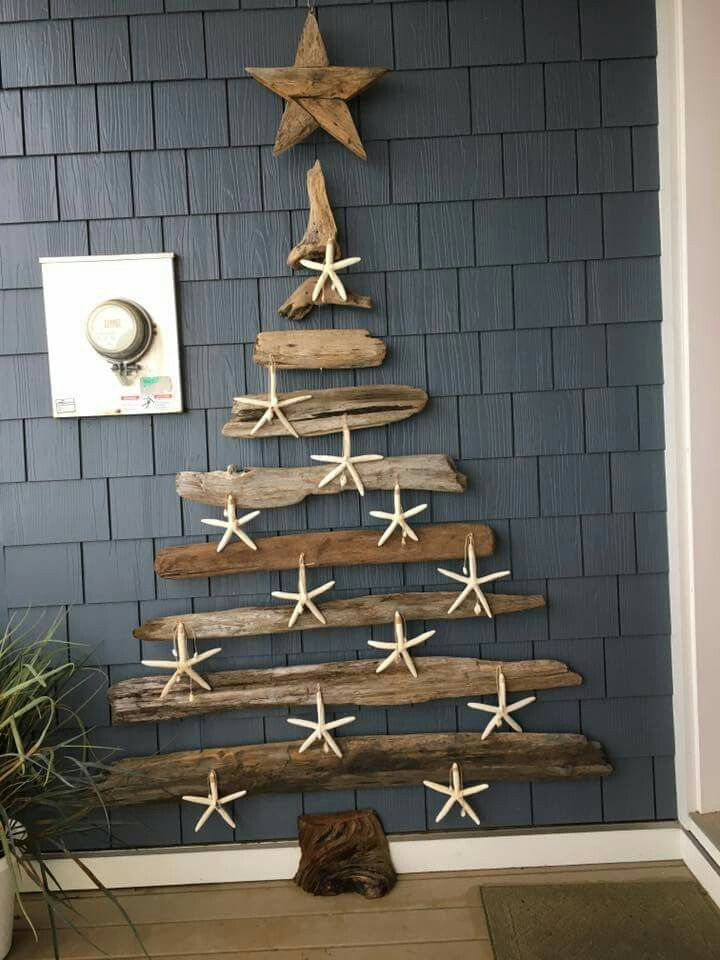 8 ft tall driftwood Christmas tree. I love everything about this!