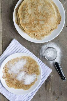 Pannenkoeken (basisbeslag)   maak pannenkoeken zonder pakje via dit recept   via BrendaKookt.nl