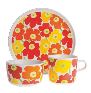 """Mini-Unikko kids set by Marimekko.  I think we will have to wait a few years to use """"durable porcelain""""!"""