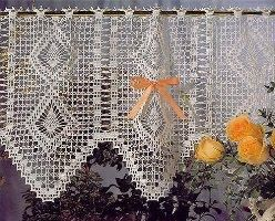 Crochet Kitchen Curtains | Sweet crochet cafe curtains for the kitchen window.