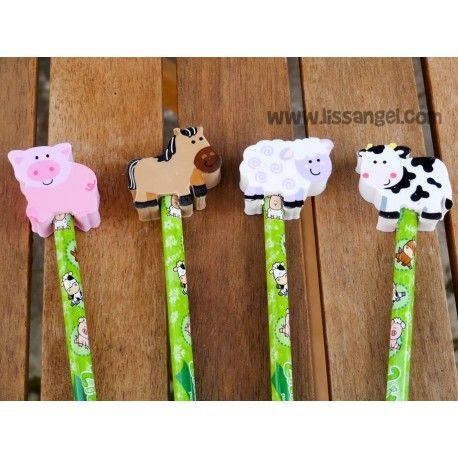 """Los #lápices más """"cuquis"""" inspirados en #animales de #granja . Divertidos lápices con estampado de animales de granja, y en un extremo, una útil #goma de borrar con forma de #animal a elegir entre #cerdo , #caballo , #oveja o #vaca .  ¿Quién dijo que los lápices tienen que ser sosos? Los lápices son de carbón negro y miden aproximadamente 19cm de largo. #lápiz"""