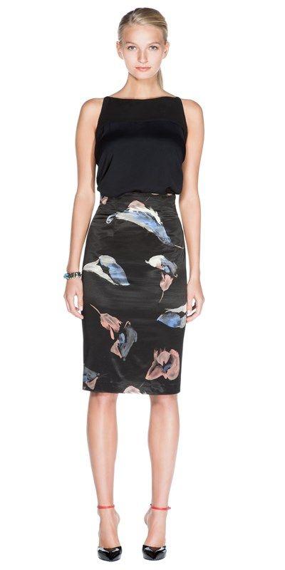 CUE - Tulip Print Stretch Satin Pencil Skirt