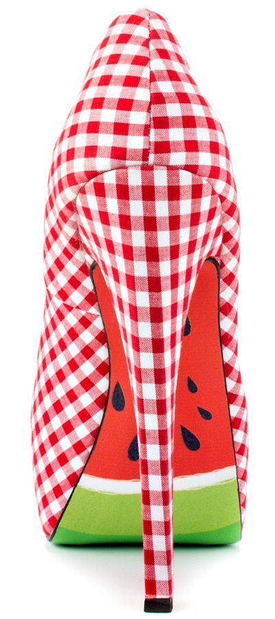 Red & White Gingham Summer Shoes to go with watermelon dress ....jk