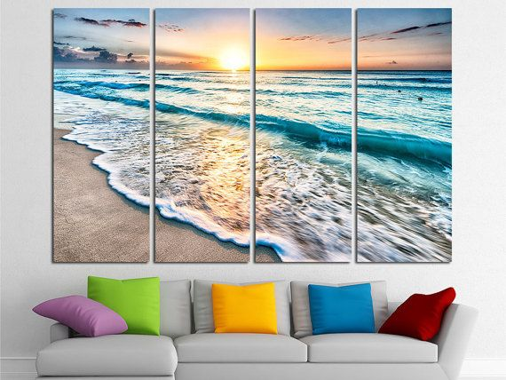 Ocean Sea Beach Wall Art Beach Canvas Beach Photo Beach Poster Beach Print Sunset ========== Imagine prints with amazing color fidelity for the most demanding. We use high quality canvas and Ink, combining extreme print quality and high print speeds in production canvas wall decor for your home & office. This gallery wrapped canvas is stretched on durable pinewood framework with 1,5 (4cm) depth. We delivery this product ready to hanging,...