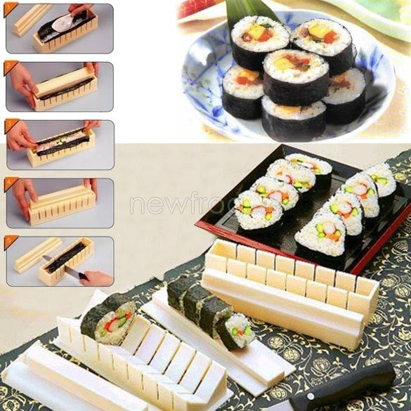 DIY Sushi Master Maker Rice Mold Kitchen Sushi Making Machine 11 Tool Set Photo 10