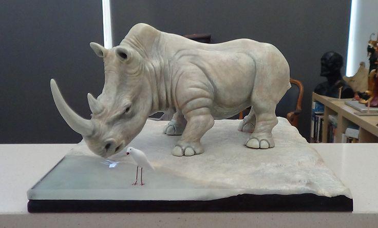 white Rhino sculpture