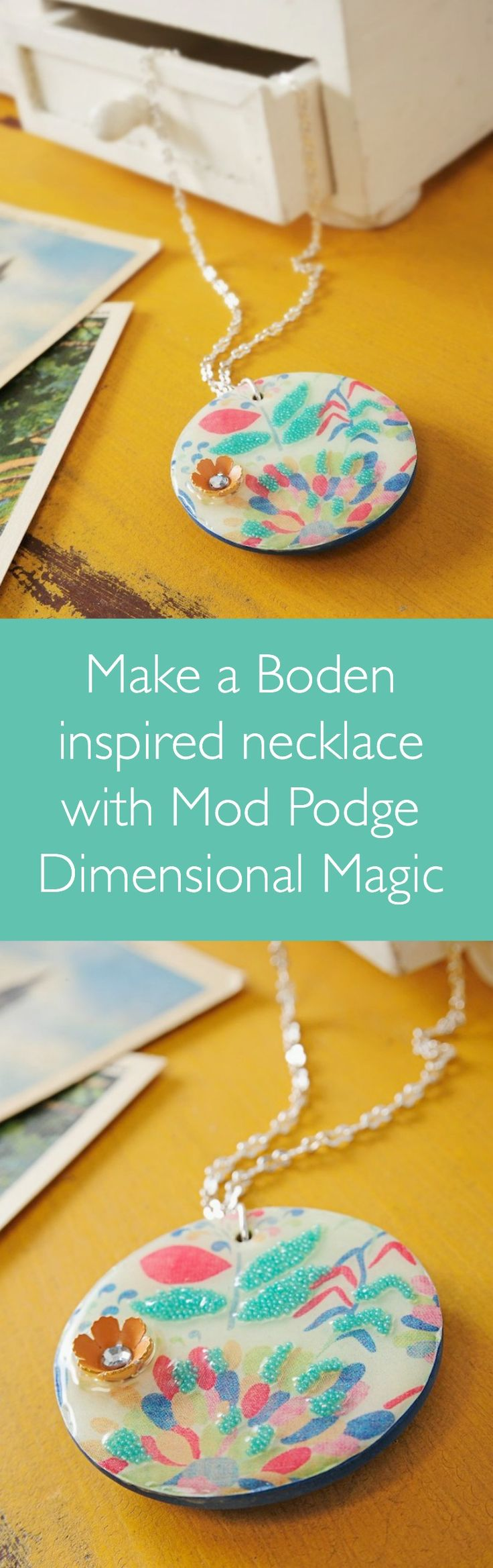 Create a unique Dimensional Magic pendant using any image that you choose - simply scan in and Mod Podge, then add DM and embellishments to the top.