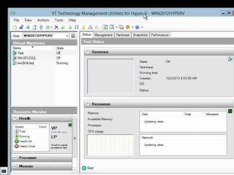 VT Technology management utilities for Hyper-V (http://vtutilities.com) can be used to manage Microsoft Hyper-V on Windows Server 2008 R2, Hyper-V Server 2008 R2, Windows Server 2012 and Hyper-V Server 2012. In this demo we will show you how to use vtUtilities to manage all versions of Hyper-V using Windows 7, Windows 8 and by running vtUtilitie...