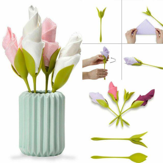 8/12pcs Bloom Napkin Holders Flowers Floral Green …