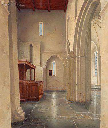 Int. N.H. Kerk, Bergum  Maarten 't Hart  68.5 x 57.5 cm - Olieverf op paneel - 1994