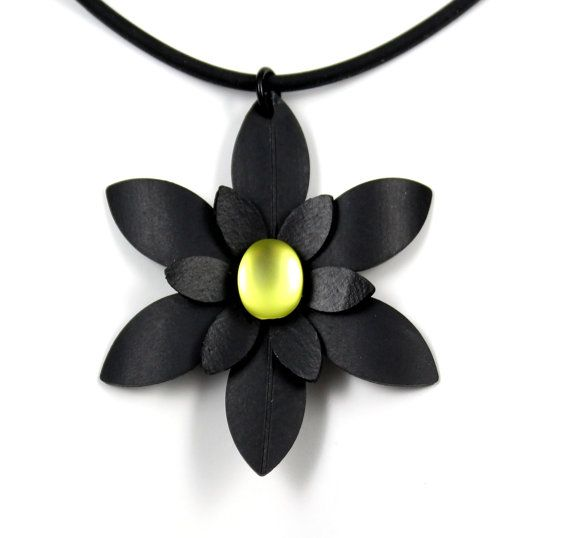 Bike Jewelry Recycled Inner Tube Daisy Flower by PartsAndScraps, $15.95