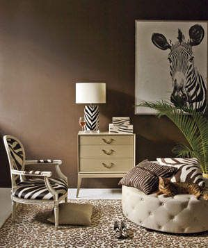 Zebra Stripes + Cheetah Spots | Combining prints brings excitement to a room—but how do you make it work? Set small patterns against large ones, limit your palette, and include one big solid (on sofa, floor, or wall) in the scene. Go ahead: Do try this at home.