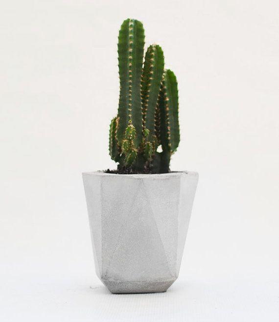 Modern pen holder-planter grey concrete, industrial faceted storage pot, pencil holder-plant pot cactus, geometric desktop accessories