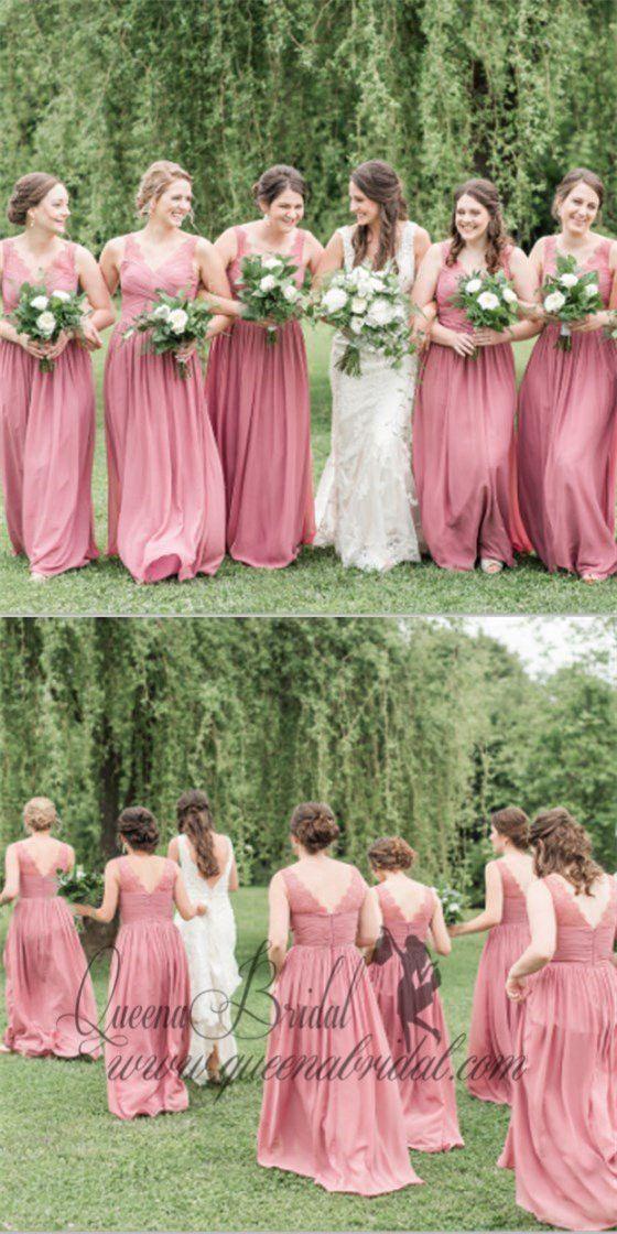 Pretty V-Neck Long Cheap Coral Chiffon Bridesmaid Dresses With Lace ... bd26f71b339d