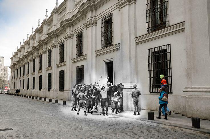 """""""La Persistencia de la Memoria"""" Fotomontaje realizado por Andrés Cruzat y publicado en su Galeria de Flickr, reune fotos originales tomadas por: Horacio Villalobos, Köen Wessing, Chas Gerretsen y David Burnett."""