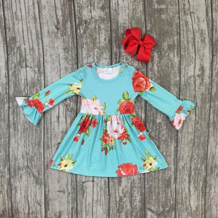 Turquoise Floral Dress 2PC