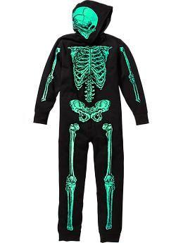 Boys Glow-in-the-Dark One-Piece Skeleton Costumes