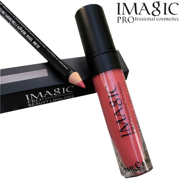 New fashion 2 pcs/set lip kit Lip Gloss Matte Liquid Lipstick with lip pen Makeup Soft  Lipgloss Kit cosmetic by IMAGIC  *** Find similar products by clicking the image