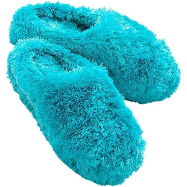 So Womens Plush Faux Fur Blue Fuzzy Slippers (96 RON) found on Polyvore