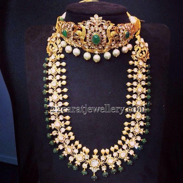 Jewellery Designs: Pachi Long Chain Peacock Choker