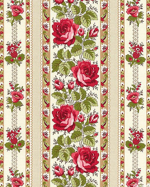 With All My Heart - Rose & Posy Stripe - Lt Beige