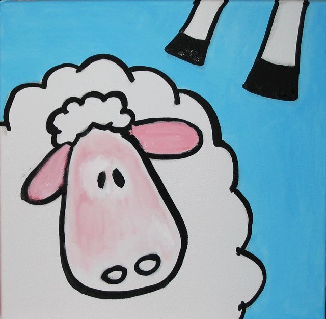 sheep kids painting - Animal Painting For Kids