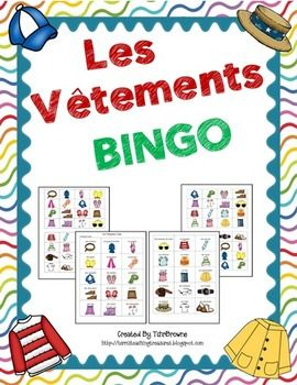 French Clothing Bingo Game $