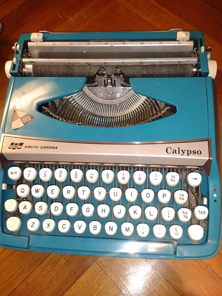 Blue vintage type writer