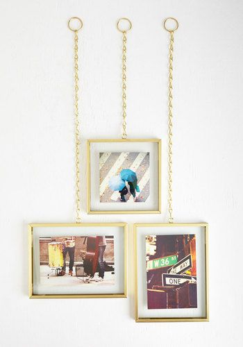 You Should've Sheen It Wall Frame Set. Instead of telling your pals countless stories about your last vacay, fill them in by displaying the beautiful pics you snapped with this set of golden frames! #gold #modcloth