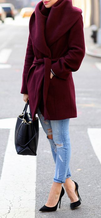 #street #style fall / burgundy coat: