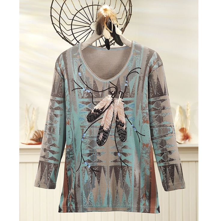 Sparkling Southwestern Feather Top - Horse Themed Gifts, Clothing, Jewelry and Accessories all for Horse Lovers | Back In The Saddle