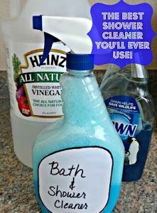Home made Shower Cleaner works better than store brands I just tried it and it is amazing!  But be aware - I had lots of bubbles so the shower was very slippery until it was rinsed.  I didn't use a scrubber sponge, just a microfiber cloth.  It took a little scrubbing but I had way better results than with any other shower cleaner.