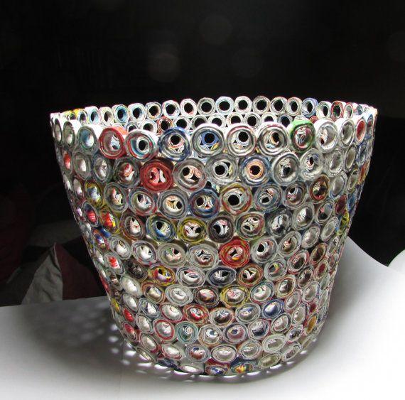 Handmade magazine bowls basket cachepot, home decor, eco friendly, unique piece,1st anniversary gift