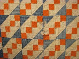 I love thisquilt! According to Barbara Brackman at http://civilwarquilts.blogspot.com/ it was made sometime around the 1900's. This quilt has gone by many names: Underground Railroad, Stepping Stones, The Tail of Benjamin's Kite, The Trail of the Covered Wagon, Wagon Tracks