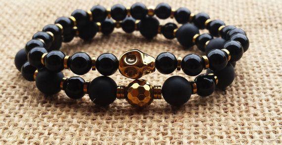 Mens Bracelet Stacks Bracelet Set Tribal Bracelet Onyx Men 's Gifts Boyfriend's Gifts Husband's Gifts Men's Fashion Classy Jewelry For…