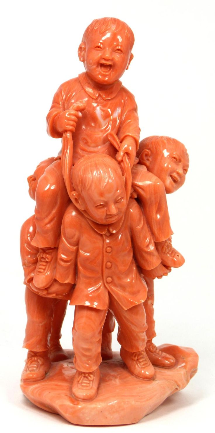 CHINESE RED CARVED CORAL CHILDREN GROUP FIGURE