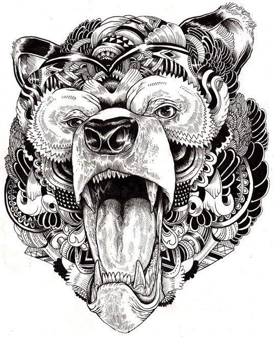 Раскраски для взрослых | Иллюстрации с животными ...