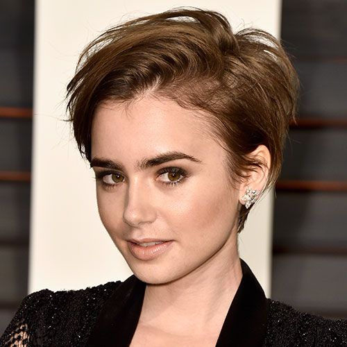 "Collins--Best for: Straight hair (very curly girls should steer clear unless they're okay with some height) A pixie is fun, playful, and fairly low-maintenance, especially if you keep it mussed-up like Lily Collins. ""It's great for super straight hair because if you have a cowlick in the back, you just wet that one area with water and you're good to go,"" says Heath. Styling Tips: All you really need is a blow dryer, which should be used to blast-dry the hair in all directions. To create a…"