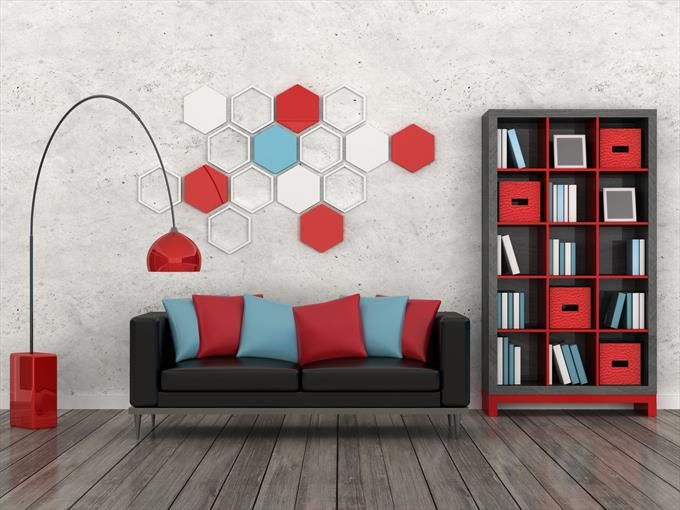 Funky Modern Living Room With Hexagonal Wall Panels And Red Floor Lamp