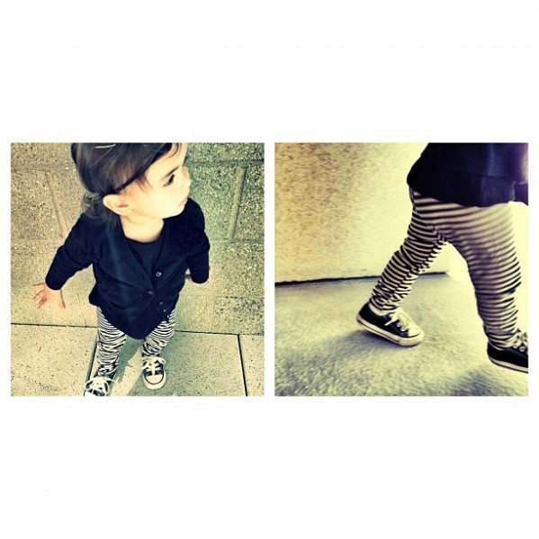 Outfit of the day: #target cardigan / $14 // #americanapparel stripped leggings / $ 18 // #converse shoes (hand-me-downs) //
