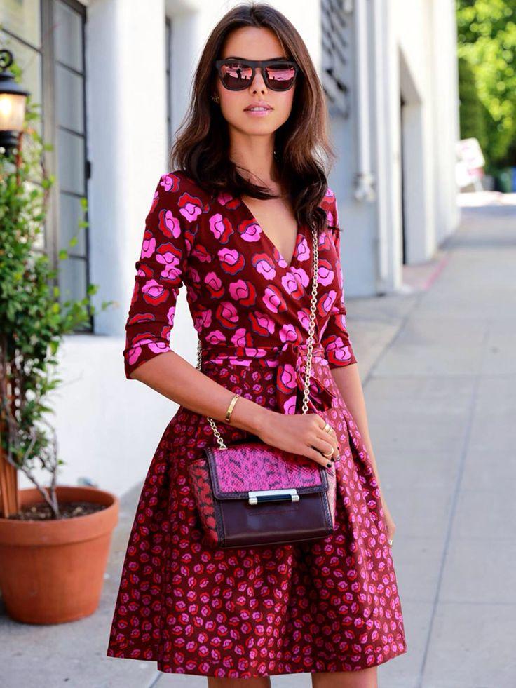 Pretty DVF wrap dress in hot pink