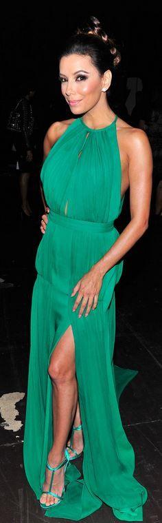 Who made  Eva Longoria's green halter gown?